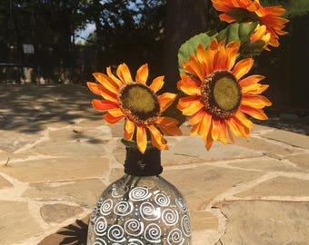Tequila Patron Glass Decorative Bottle Centerpiece Flower Arrangement Piece