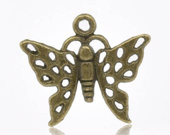 10 charms brass butterfly wings openwork 18x15mm