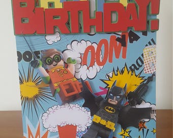 Lego Batman & Robin Birthday Card