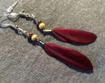 Earrings * feather * Bordeaux
