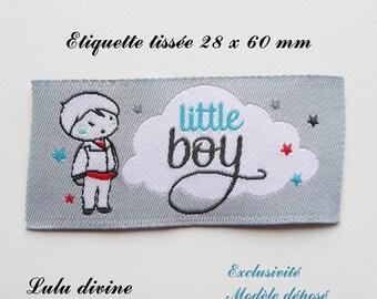 Woven label - little boy - 28 x 60 mm, grey cloud boy