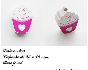25 x 18 mm wooden bead, Pearl flat Cupcake: dark pink