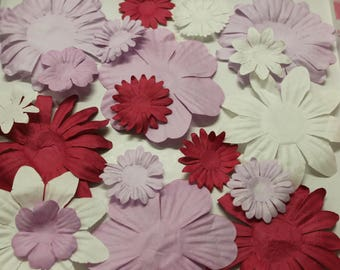 set of 20 pink paper flowers, fuchsia and white for scrapbooking, cardmaking, decoration