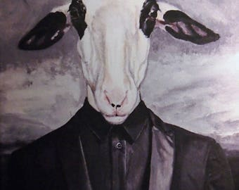 reproduction print on canvas painting sheep