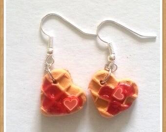 Kawaii wafers chantilly heart earrings