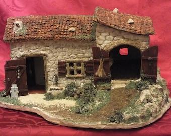 Nativity scene. The body farm. House and barn.