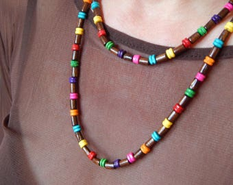 """Ethnic necklace """"Salimpi"""" multicolor long wooden beads"""
