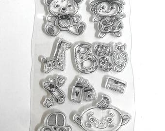 Silicone - clear stamp set - plate stamp child Theme clear stamps / birth / baby / Teddy / doll / bottles / giraffe