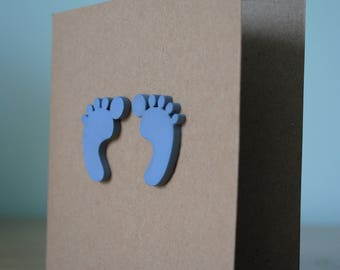 Handmade card blue baby footprints