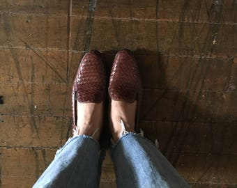 Vintage brown leather loafers