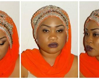 Hijab Turban Extra Long Chiffon Head-wrap with swarovski  stones /Head Wrap