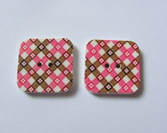 2 square diamond 25mm Vintage style wooden buttons