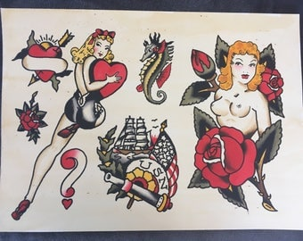 Hand Painted Sailor Jerry Designed Tattoo Flash
