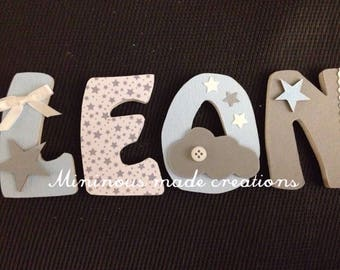 Manually made decorated wooden name LEON