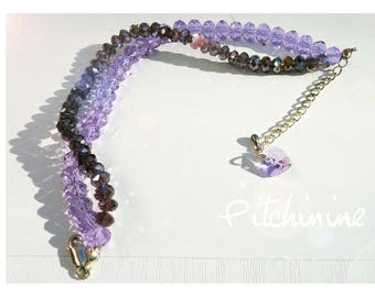 Composed of two rows of shades of amethyst purple Swarovski pearls