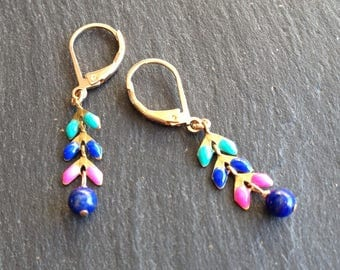 short colorful earrings lapis lazuli