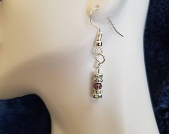 Crystal and purple dangle earrings