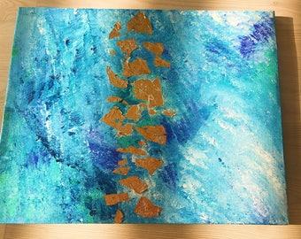 Aqua gold Abstract