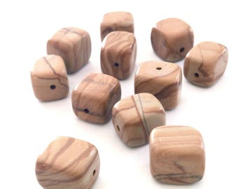X 1 BEAD 11X8MM WOOD LACE STONE