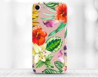Tropical iPhone 8 Case Floral iPhone 8 plus Case Tropical iphone Transparent Case Floral iPhone 7 plus Case clear iphone 7 case iphpne 6 tpu