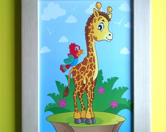 Decoration for children's room: Adorable giraffe, green yellow and blue colors