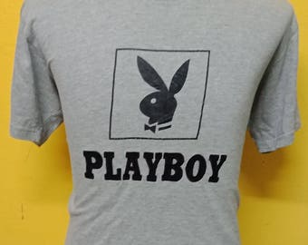 Vintage Playboy T shirt Big Logo / Spell Out Embroidery Grey T shirt Vintage 90's