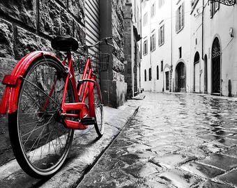 ORIGINAL design, durable and WASHABLE PLACEMAT - cities - bike on the cobblestones 1 - Classic.