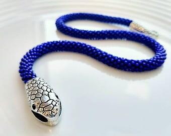 Japanese seed beads blue bracelet