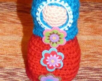 Matryoshka pot crocheted head pin