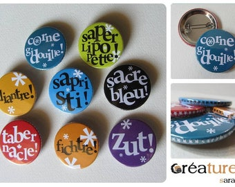 Typographic badge choice words pretty 38mm
