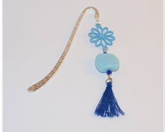 Blue flower bookmark, glass beads and tassel