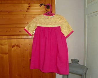 Dress girl spirit Bohemian fuchsia and yellow.