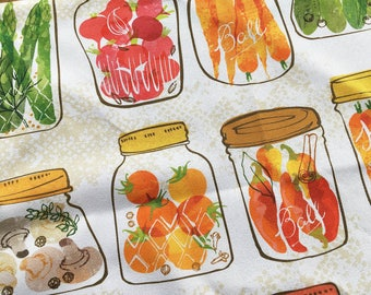 Pickled vegetables in Mason Jars Tea Towel - Canning -  Kitchen Gift - Preserve and pickle - design by Ohn Mar Win - Dish cloth - Harvest