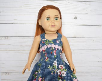 Doll clothes, 18 inch doll summer dress, blue doll dress, 18 inch doll dress, American Girl Doll clothes