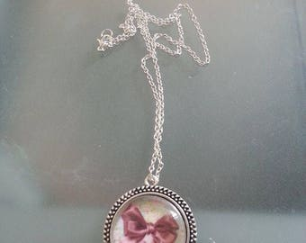 Necklace silver vintage bow
