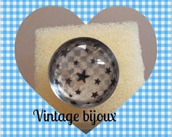 Adjustable silver ring magic stars