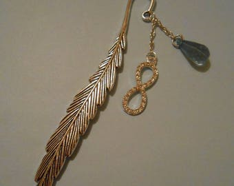 Bookmark feather with turquoise charm