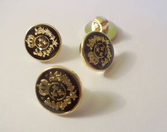 4 buttons badges black and gold - sewing - scrapbooking - Golden Crown black background
