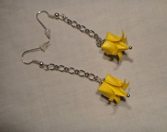 Buttercup yellow origami earrings gold