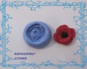 Mold flower poppy 2.2 cm silicone hand