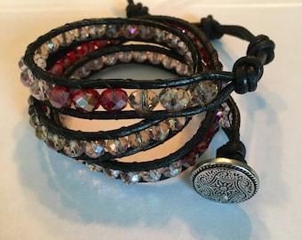 Pretty in Pink Adjustable Leather Beaded Wrap Bracelet
