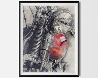 Vintage Harley, Harley Printable, Harley Motorcycle, Harley Poster, Motorcycle Printable, Motorcycle Poster,Motorcycle Art, INSTANT DOWNLOAD