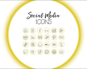 Gold Ring Outlined Social Media Icons
