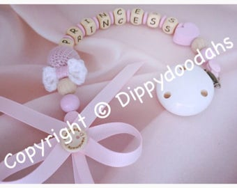 Personalised Wooden Dummy clip with crochet bow, baby girl gift