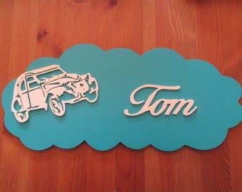 customizable with 2cv blue door plaque