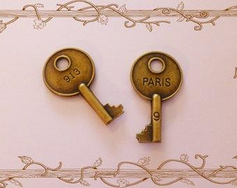 2 large Paris keys charm bronze