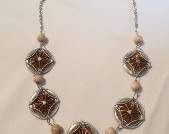 Coffee color capsule necklace gold