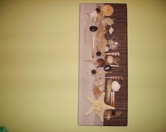 edge of sea shells, driftwood frame...