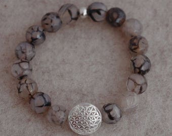 Mala necklace for wrist snake agate and the flower of life, 925 Silver