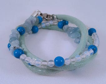 Beaded leather wrap bracelet with turquoise, aquamarine and opal beads
